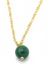 A-B20.5 N2121-016G S. Steel Necklace with 8mm Stone Malachite