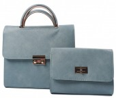 Y-E5.3 BAG419-003B PU Bag Set 2pcs 42.5x23x10cm Blue