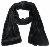 R-P1.2 S003-002 Soft Fake Fur Scarf 180x18cm Black