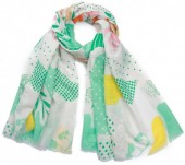 X-M8.2  SCARF510-003B Scarf Leaves and Flowers 180x90cm Green
