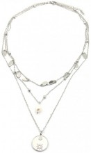 C-D15.1 N2020-004 S. Steel Layered Necklace Coins and Pearl Silver