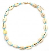 D-D21.2  N316-012 Choker Necklace Shells 37-43cm Blue