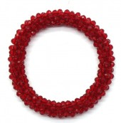 A-E10.2 B008-001D Bracelet with Faceted Glass Beads Red