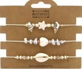 F-F20.1 B2001-048B Bracelet Set 3pcs Stones and Shells Beige
