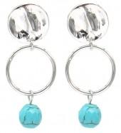 B-F4.1 E2019-038S Earrings Turqoise 1.5x3.5cm Silver