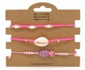 C-C16.3  B221-003 Bracelet Set 3pcs Pineapple and Shell Pink