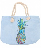 Y-E3.5  BAG213-003 Beach Bag with Multi Colored Pineapple 50x36cm Blue