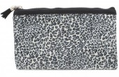 S-C6.3 BAG1824-005 Make Up Bag with Leopard Print and Tassel 22x13.5cm Grey