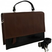 S-A1.4 BAGE-1177 Leather Bag  28x21x5cm Black-Brown