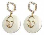C-A7.2 E1631-072A Earrings with Shell and Crystals 5x3cm