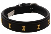 H-D21.3  MTDC-002 Leather Dog Collar with Bones Black S 49x2.5cm