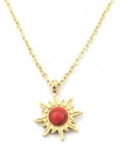 B-E18.3  N2004-003G S. Steel Necklace 12mm Sun with Stone Gold