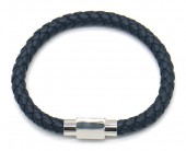 A-G10.1 B1643-001 S. Steel with Leather Bracelet 19cm Blue