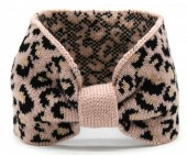 T-E6.1 H401-004A Knitted Headband with Animal Print Pink