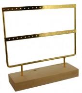 Q-D3.1 PK424-004 Wood with Metal Earring Display 23x22x7cm Chrome Gold