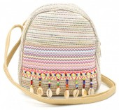 Q-O6.1 BAG027-008 Trendy Backpack Ibiza with Glitters and Shells 22x20x10cm Brown