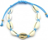 D-C19.5 B2001-020B Bracelet with Shells Gold-Blue