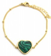 B-F17.2 B1934-009 Stainless Steel Bracelet with 20mm Heart with Malachite Gold