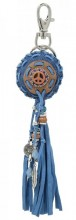 C-F20.1 Key-Bag Chain with Peace sign and Tassels 23cm Blue