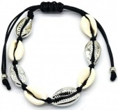 C-B4.3 B2001-032 Bracelet with Shells Silver-Black