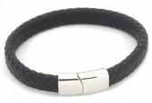 F-F8.2 B105-002 Leather Bracelet with Stainless Steel Lock 21x1cm Black