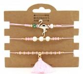 C-B2.2  B221-001 Bracelet Set 3pcs Flamingo and Tassel Pink