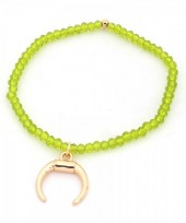 B-A4.3  B130-018 Elastic Bracelet with Moon and Glass Beads Green
