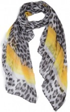 X-F8.2  SCARF507-006B Scarf with Animal Print and Lines 180x90cm Grey-Yellow
