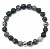 A-B18.4 B2121-001 Cracked Agate Bracelet Black