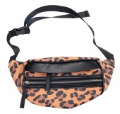 X-L8.2 BAG120-006 Trendy Waist Bag with Leopard Print Brown