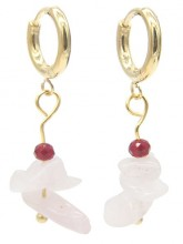 A-F19.5 E301-067G S. Steel Earrings with Stones 1.2x3cm Pink