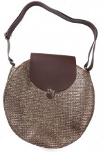 Y-E5.3 BAG541-001C Woven Straw Bag with PU 30x9cm Brown-Gold