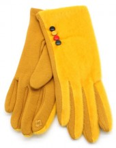 S-C2.3  GLOVE403-005C Fluffy Gloves With Colored Buttons Yellow