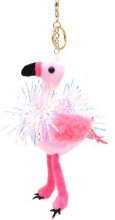 S-H4.4 KY2035-002B Keychain Flamingo with Glitters 18cm Pink