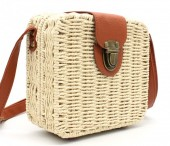 Z-E1.3 BAG323-001 Square Straw Bag with PU Straps Beige 18x16x7 cm