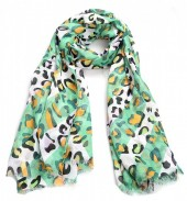 X-I7.1  S314-005 Scarf with Animal Print 180x90cm Green