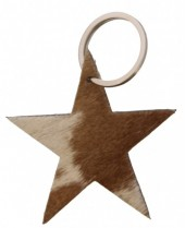 A-A8.1 Brown Leather Cowhide Keychain Star Mixed Colors 8cm