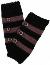 K-A5.3 Striped Hand Warmers with Buttons Purple