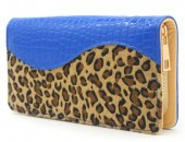 R-K7.2  WA117-003 PU Wallet with Leopard Print 19x10cm Blue