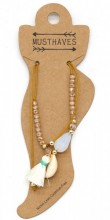 E-C8.1 ANK221-018 Anklet with Beads-Shell-Tassel Brown