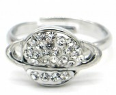 G-C21.4 R532-006S Adjustable Ring Planet with Crystals Silver