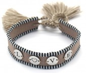 A-A3.1 B2040-004SA Woven Bracelet with S. Steel LOVE Brown-Silver