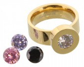 Stainless Steel Ring Gold R004-037 Size 20 Interchangeable Diamonds