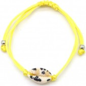 D-E4.3 B2001-057D Bracelet with Leopard Shell Yellow
