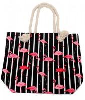 K-E7.1 BAG217-002 Striped Beach Bag with Flamingos 43x34cm Black