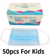 Face Masks 3 Layers 50pcs with CE - For Kids - Blue