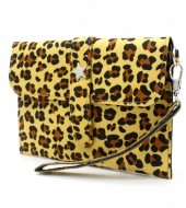 X-M2.1 WA220-008 Clutch with Panther Print and Star 18x12cm Yellow