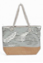 Y-D2.3 BAG217-005 Beach Bag with Wicker and Metallic Stripes 54x40cm White-Silver