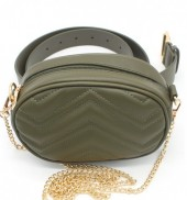 Y-E5.1 BAG212-002 Combination Bum-Shoulder Bag incl Belt 19x12x7cm Green