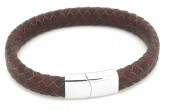 F-B6.2 B105-002 Leather Bracelet with Stainless Steel Lock 21cm Brown